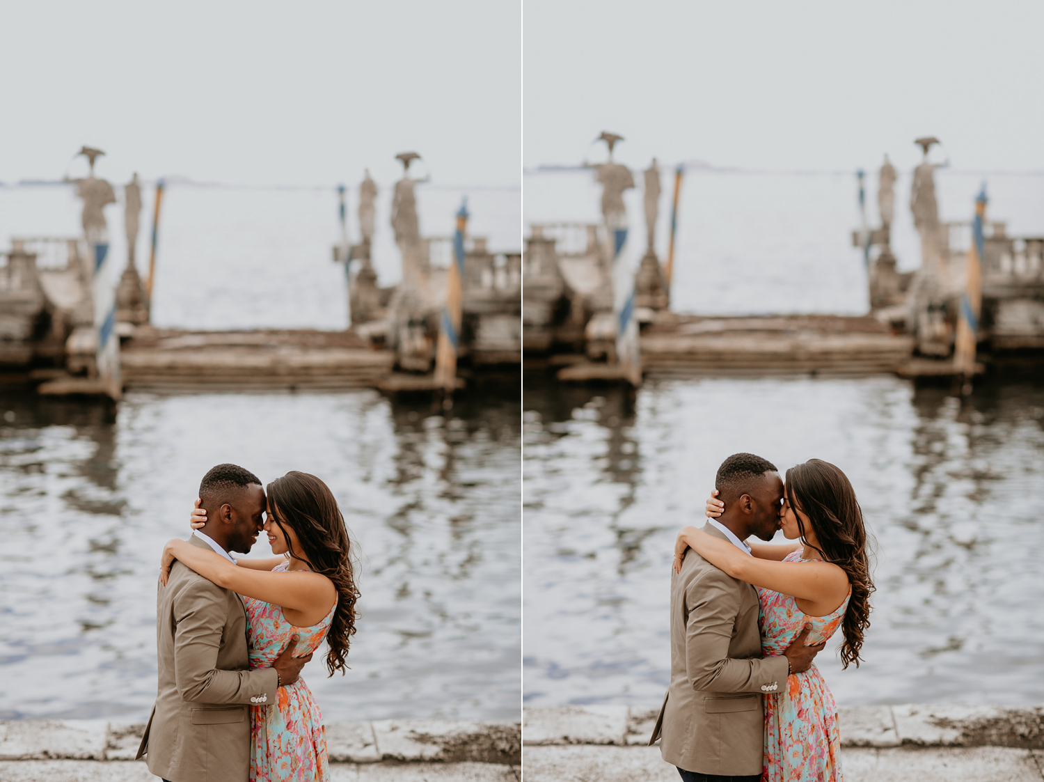 engaged couple kissing in vizcaya museum water view