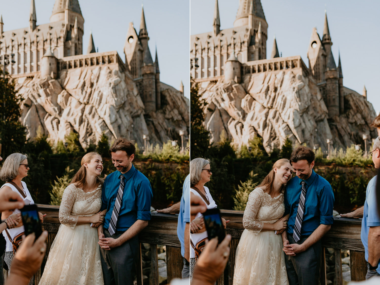 bride and groom smiling at each other hogwarts castle in the background