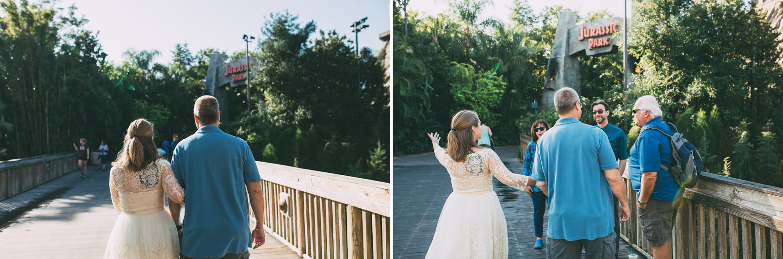 bride and groom meet at the bridge