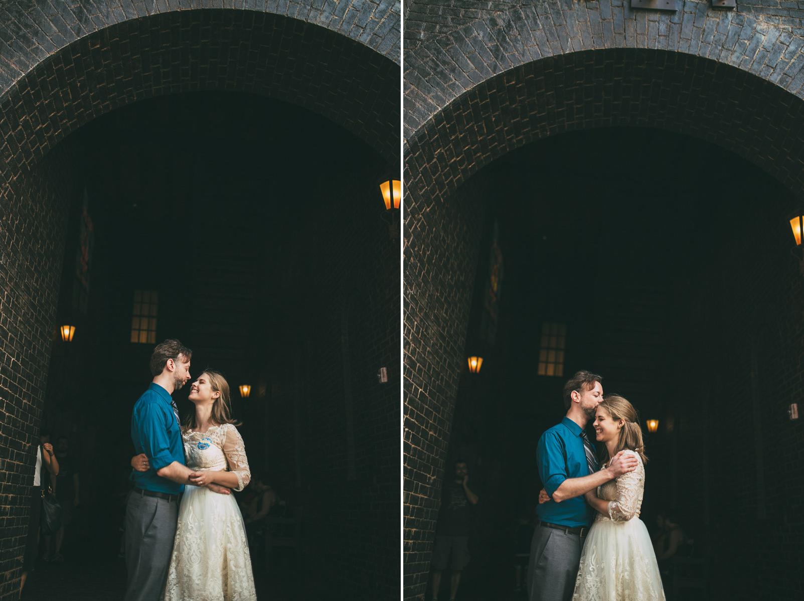 newlyweds hugging laughing under knockturn alley arch