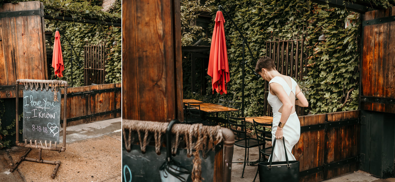 bride entering restaurant green covered walls wooden doors