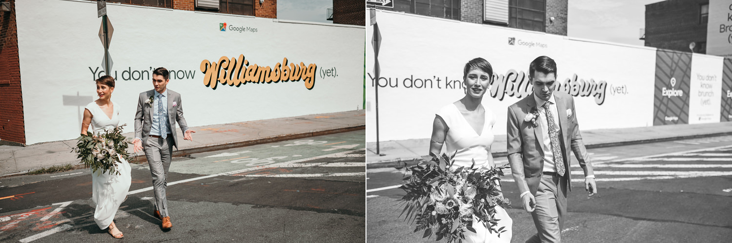 newlyweds crossing the street Williamsburg painted wall in background