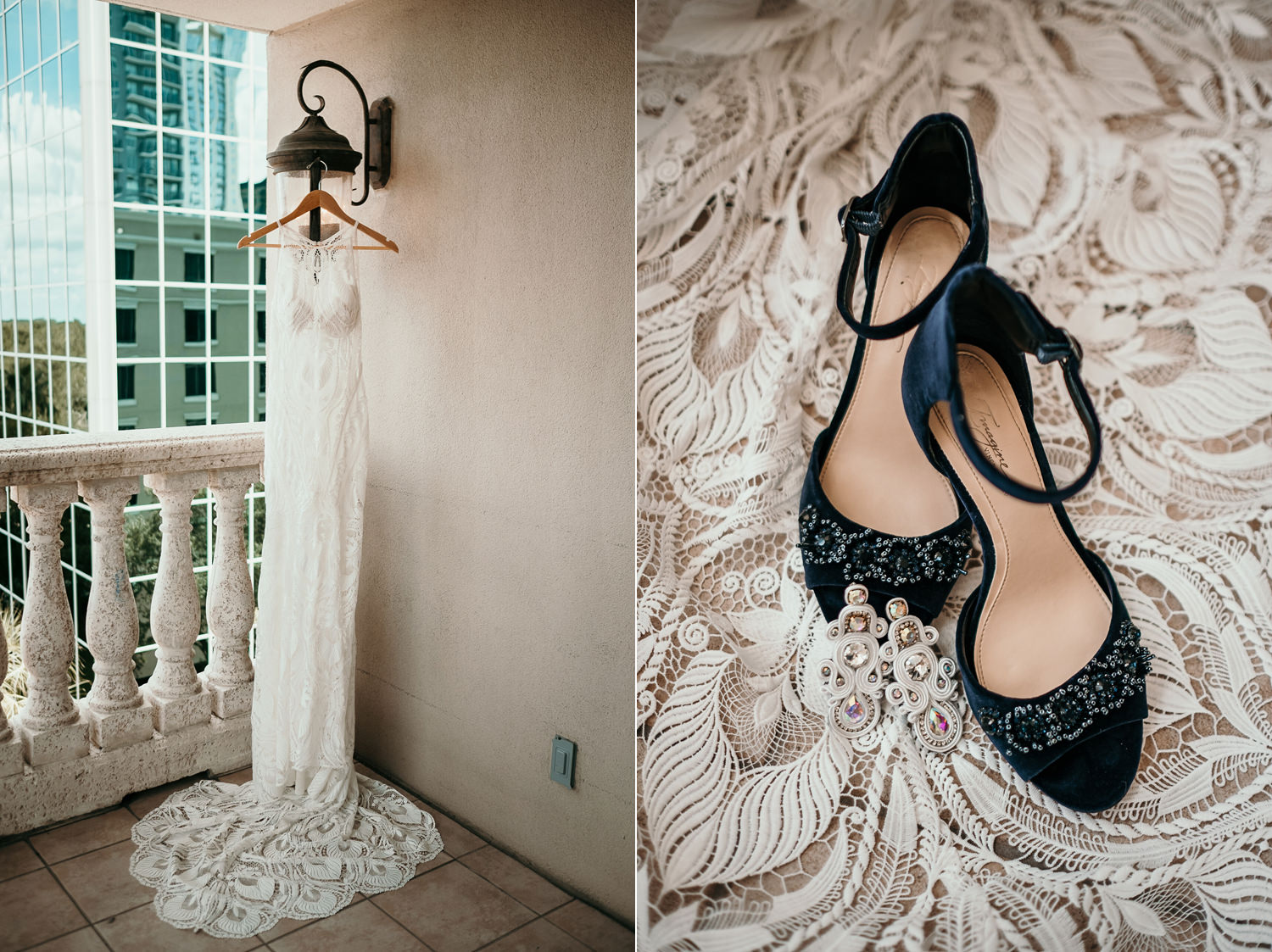 brides dress hanging on embassy suites balcony