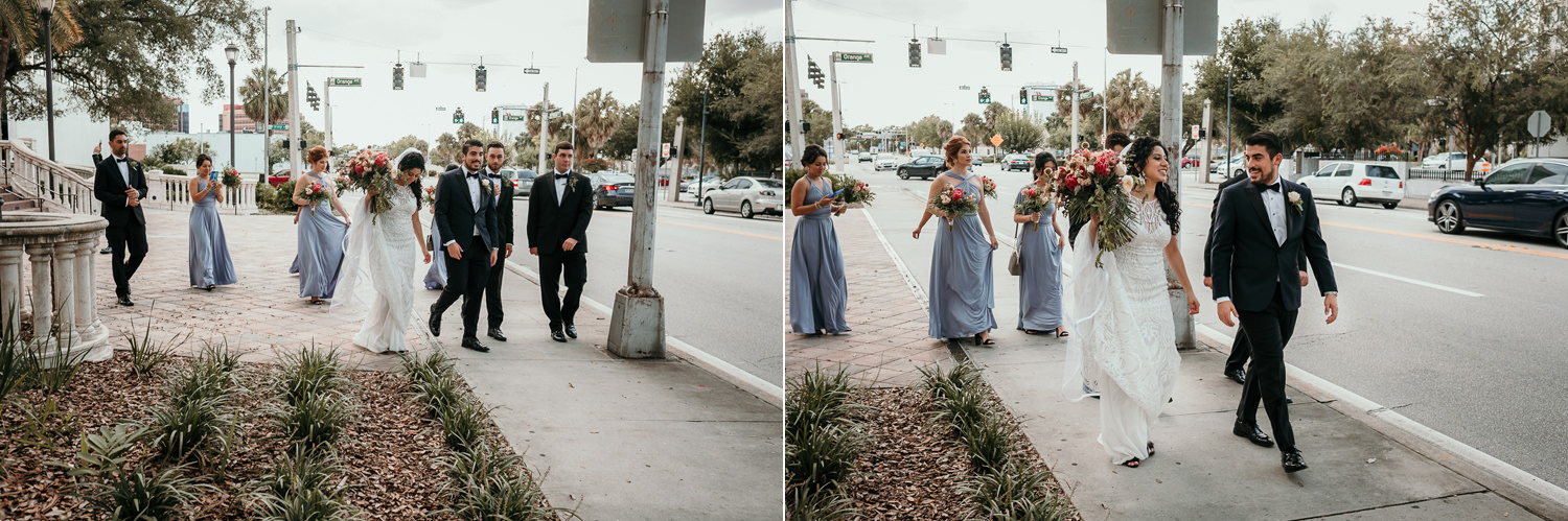 bridal party exiting church in Downtown Orlando