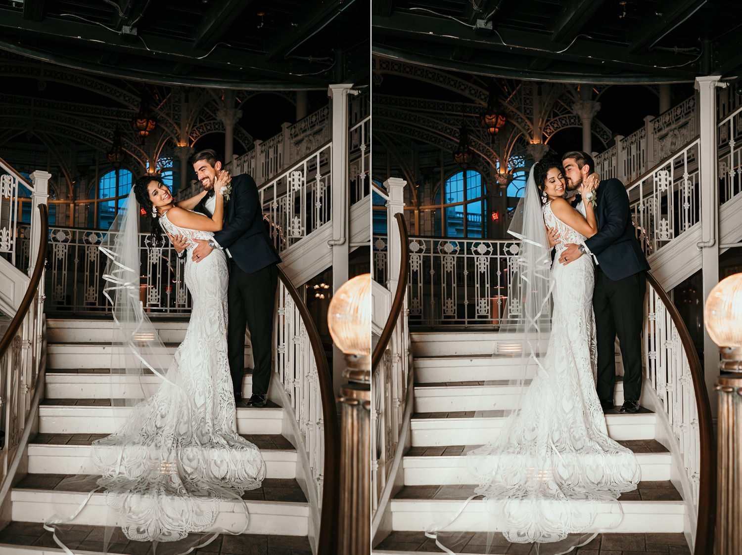 long picture of newlyweds on stairs dress draped on steps