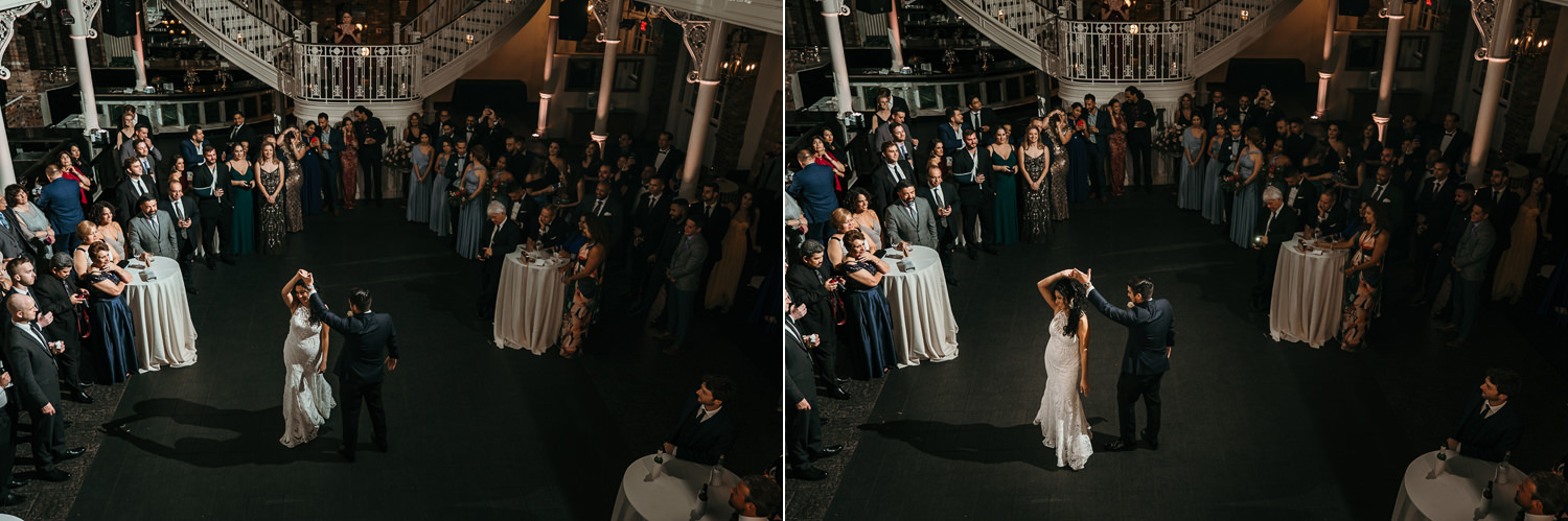 wide shots of first dance at orchid garden