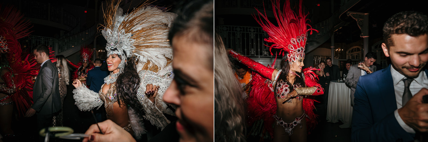 hora loca begins dancers with red and white feathers