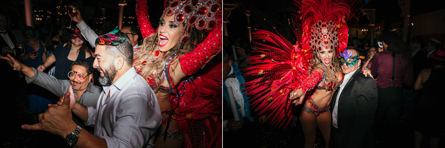 hora loca dancer in red feathers cheering