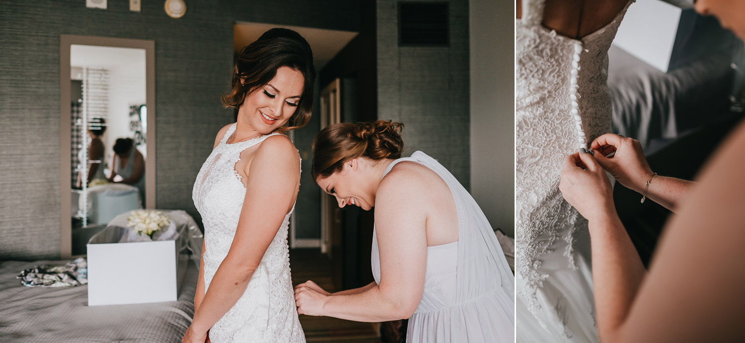 bridesmaid helping bride zip up dress at hard rock resort
