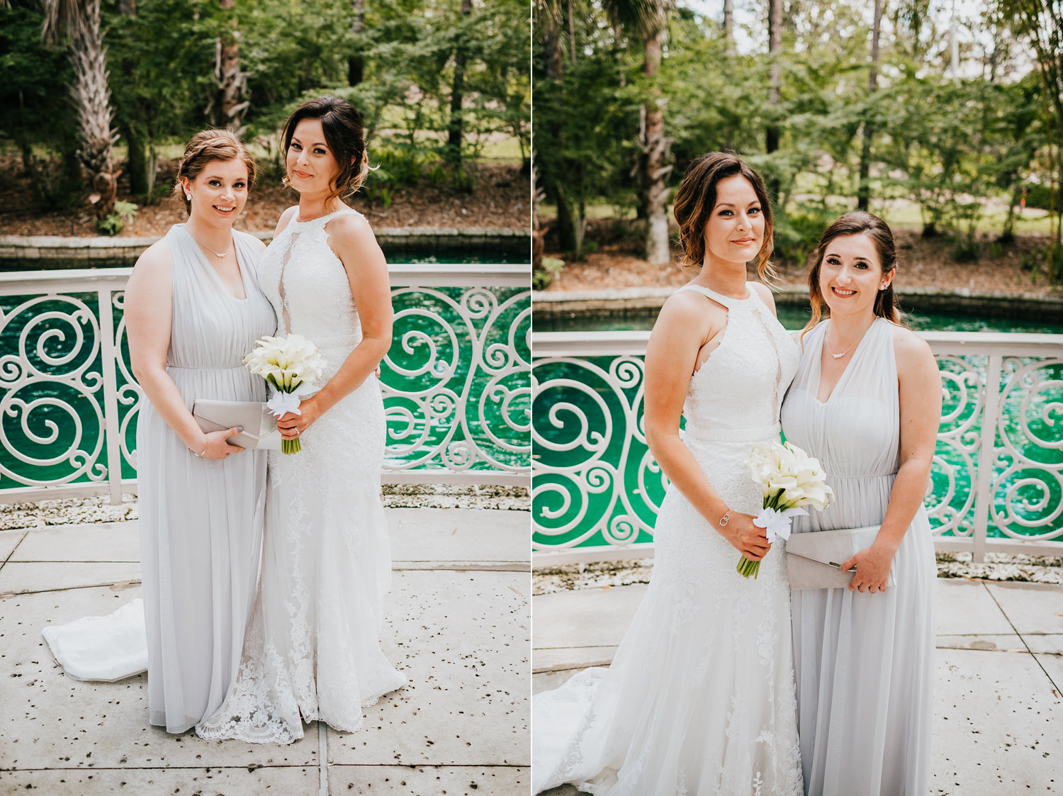 bridesmaids with bridal individual pictures