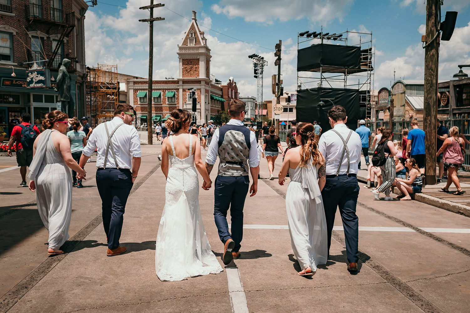 wedding bridal party entering universal studios