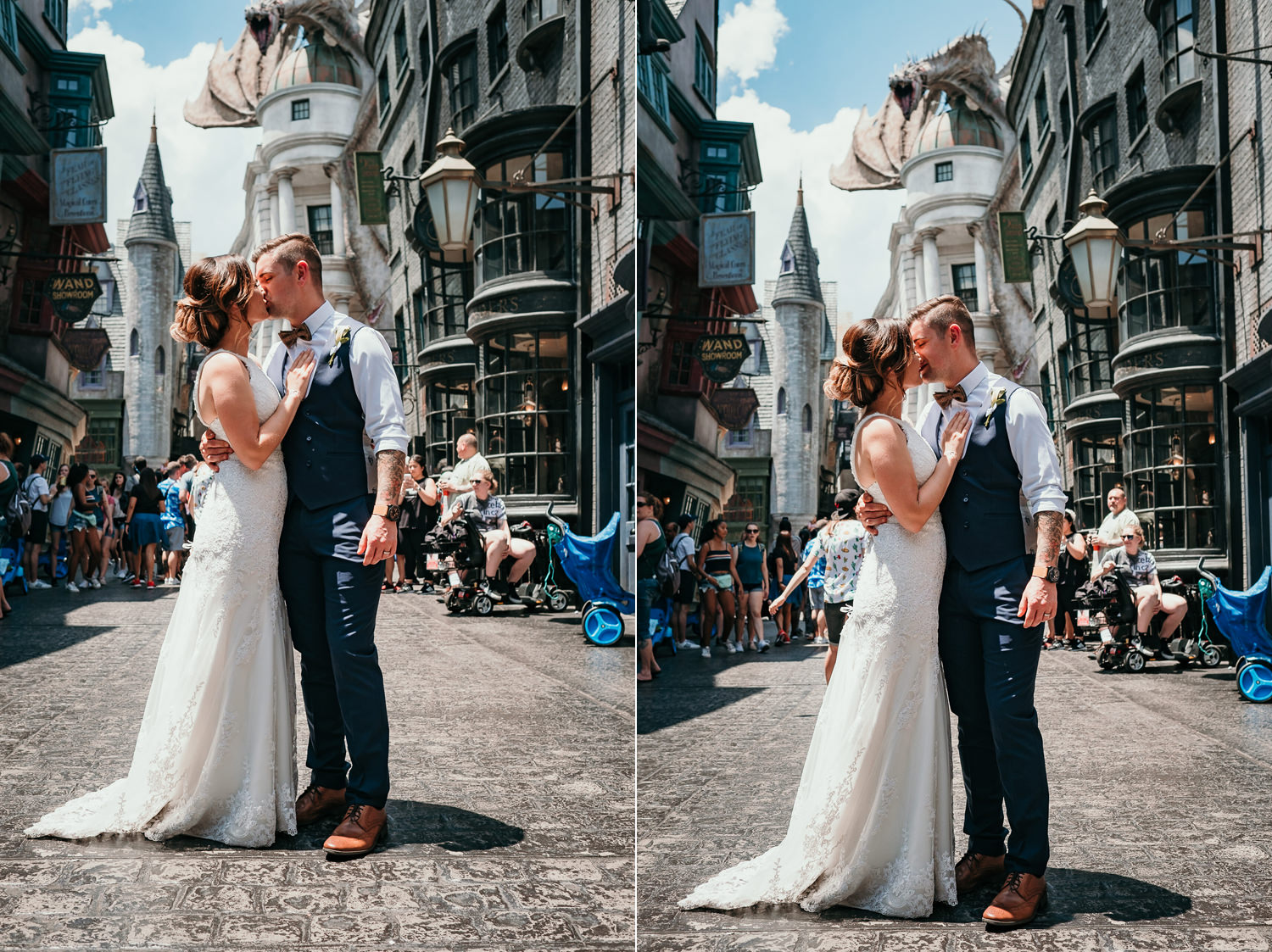 newlyweds kissing with gringotts drangon behind them