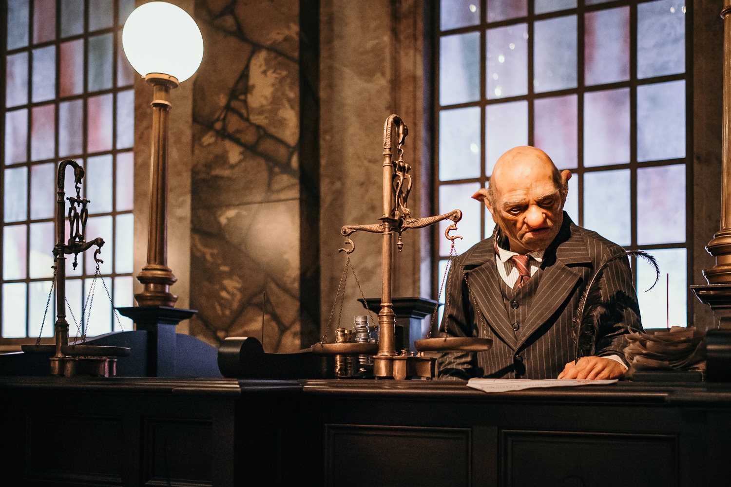 close up of one of the gringotts bankers