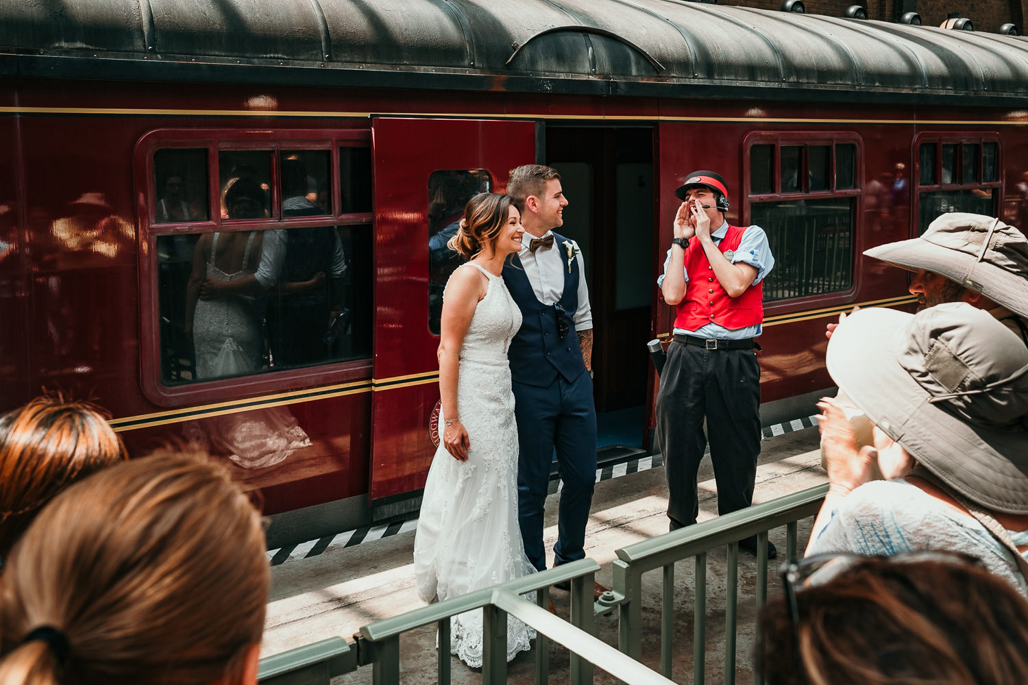 hogwarts express conductor announcing the newlyweds to crowd
