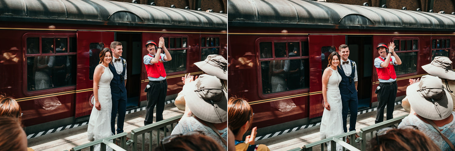 Hogwarts express conductor applauding newlyweds