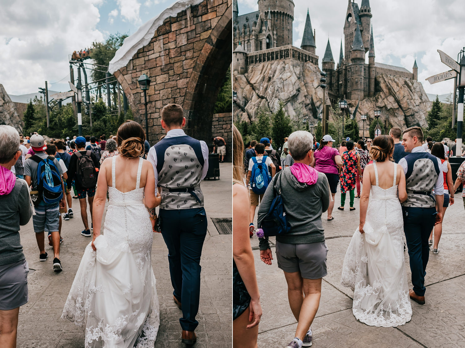 couple in wedding attire walking towards hogwarts in universal studios