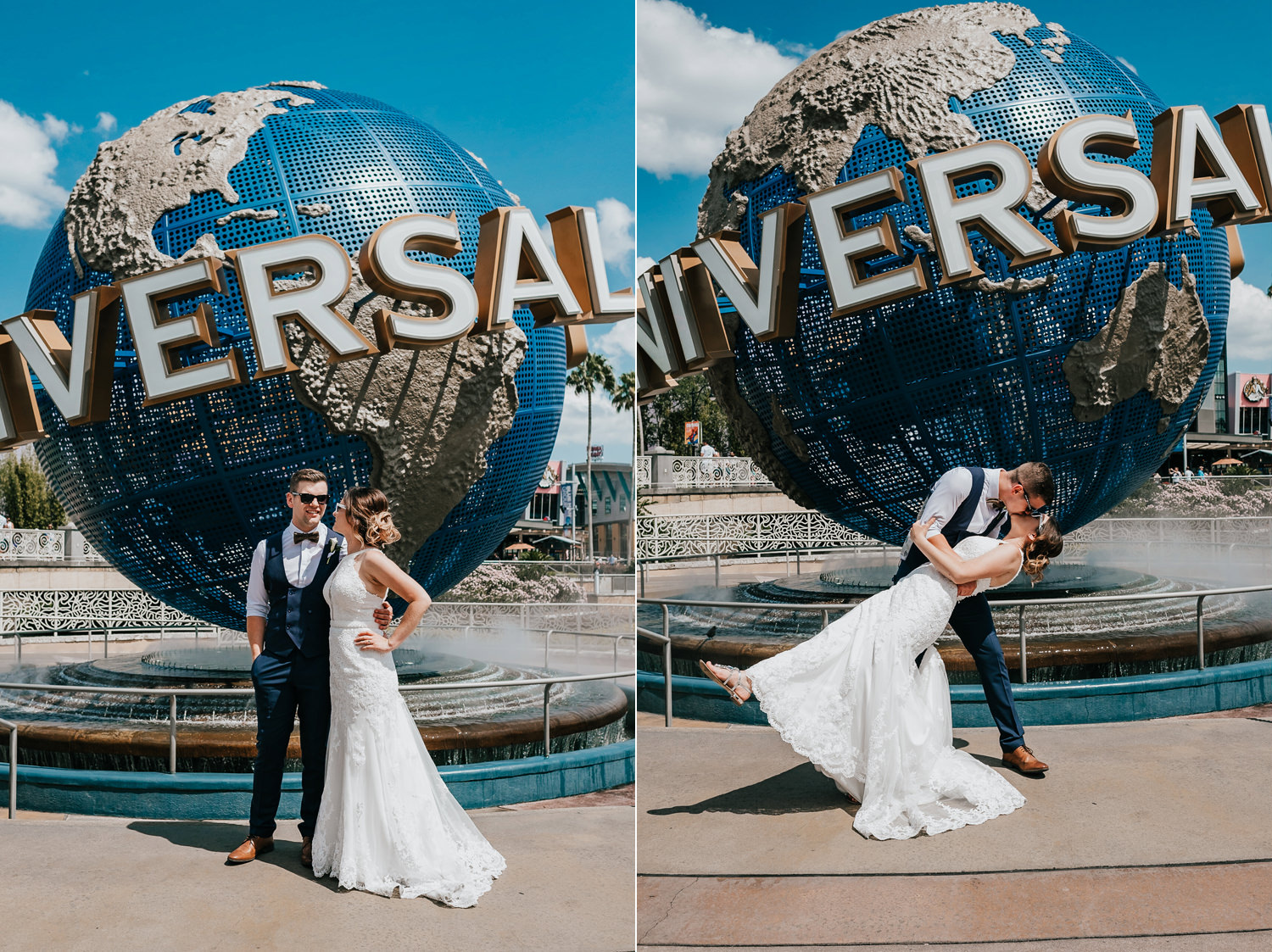 newly married couple posing in front of universal studios globe