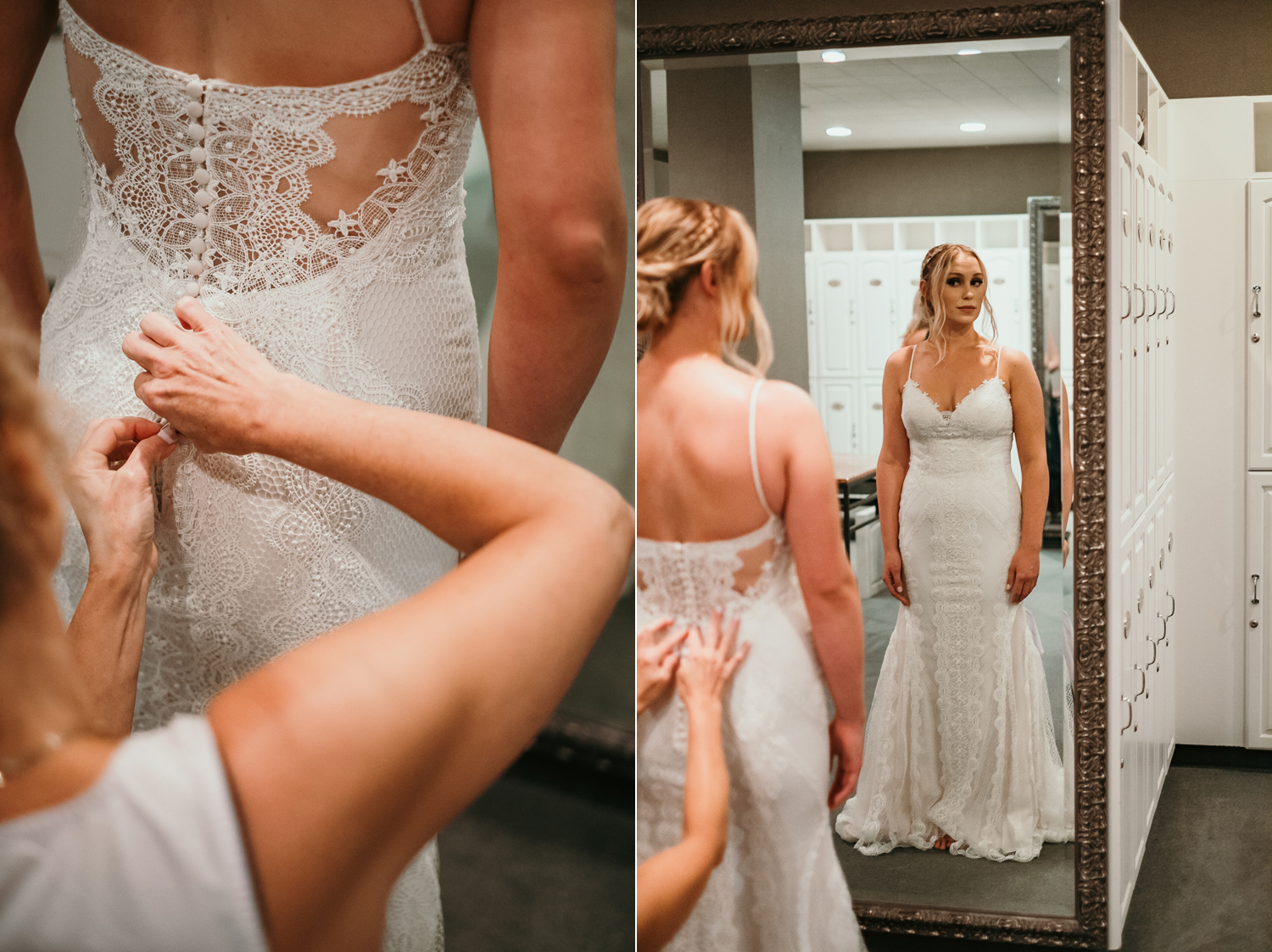 mom buttoning up the brides wedding dress facing a mirror