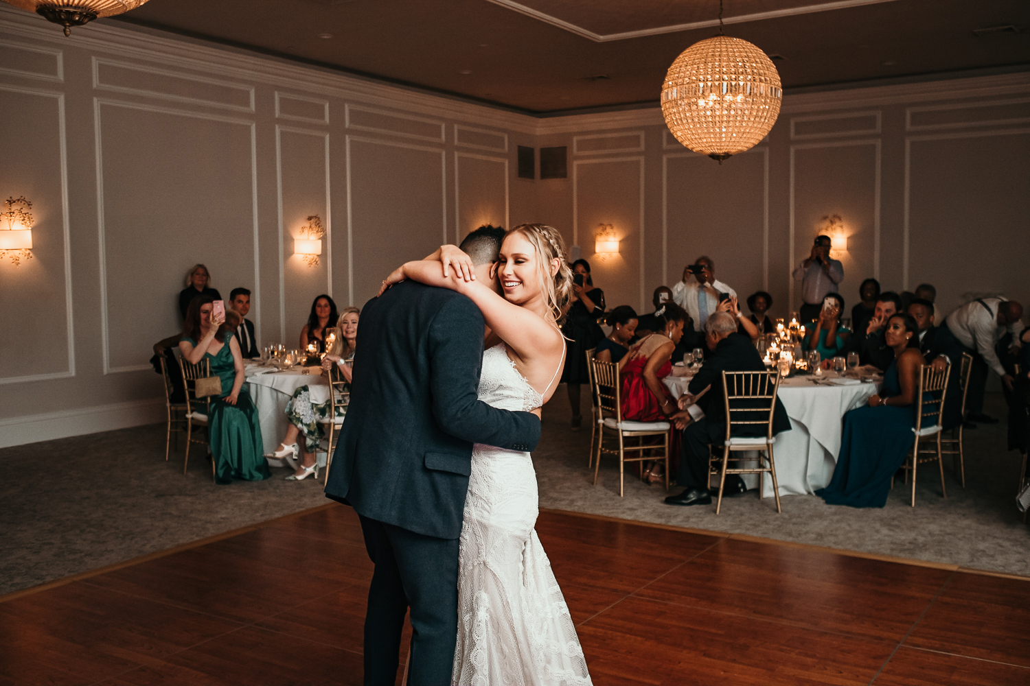 romantic hugging during first dance