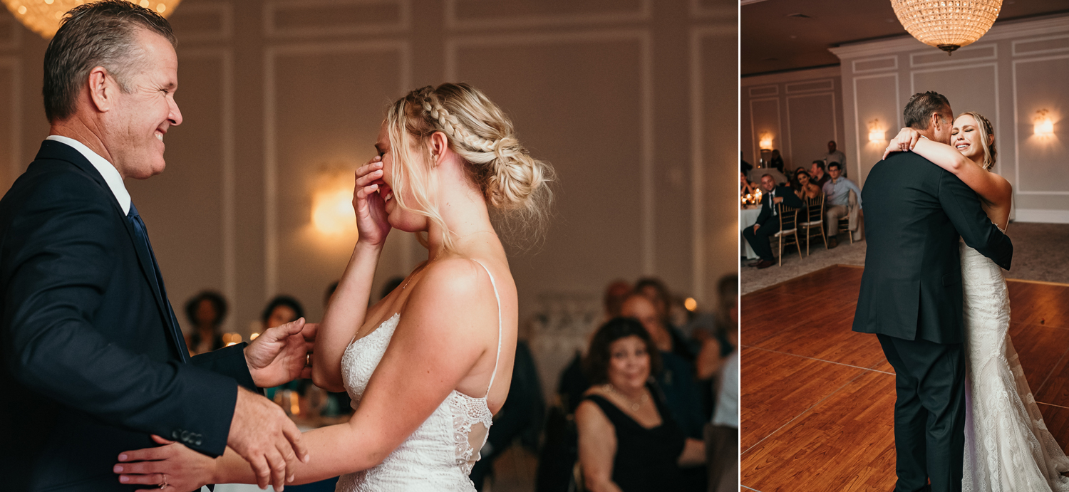 bride crying getting ready to dance with dad