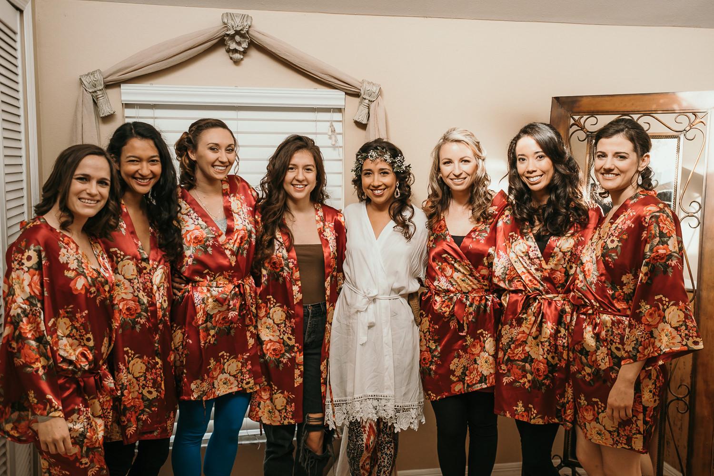 bridasmaids wearing robes
