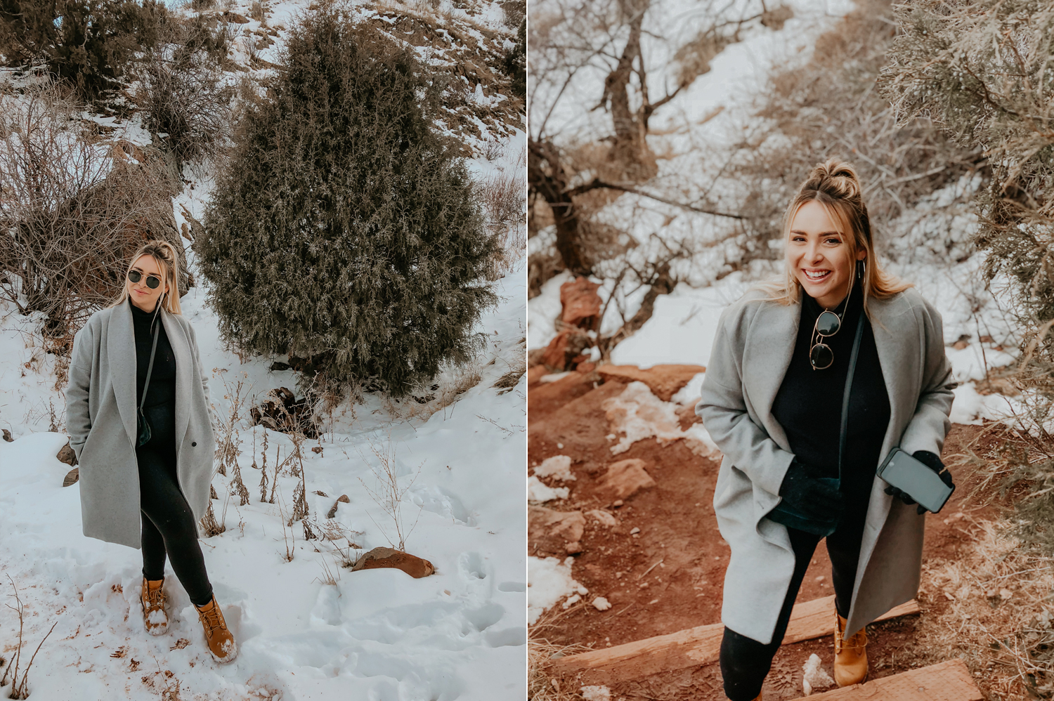 Tessa standing on snowy steps at red rocks
