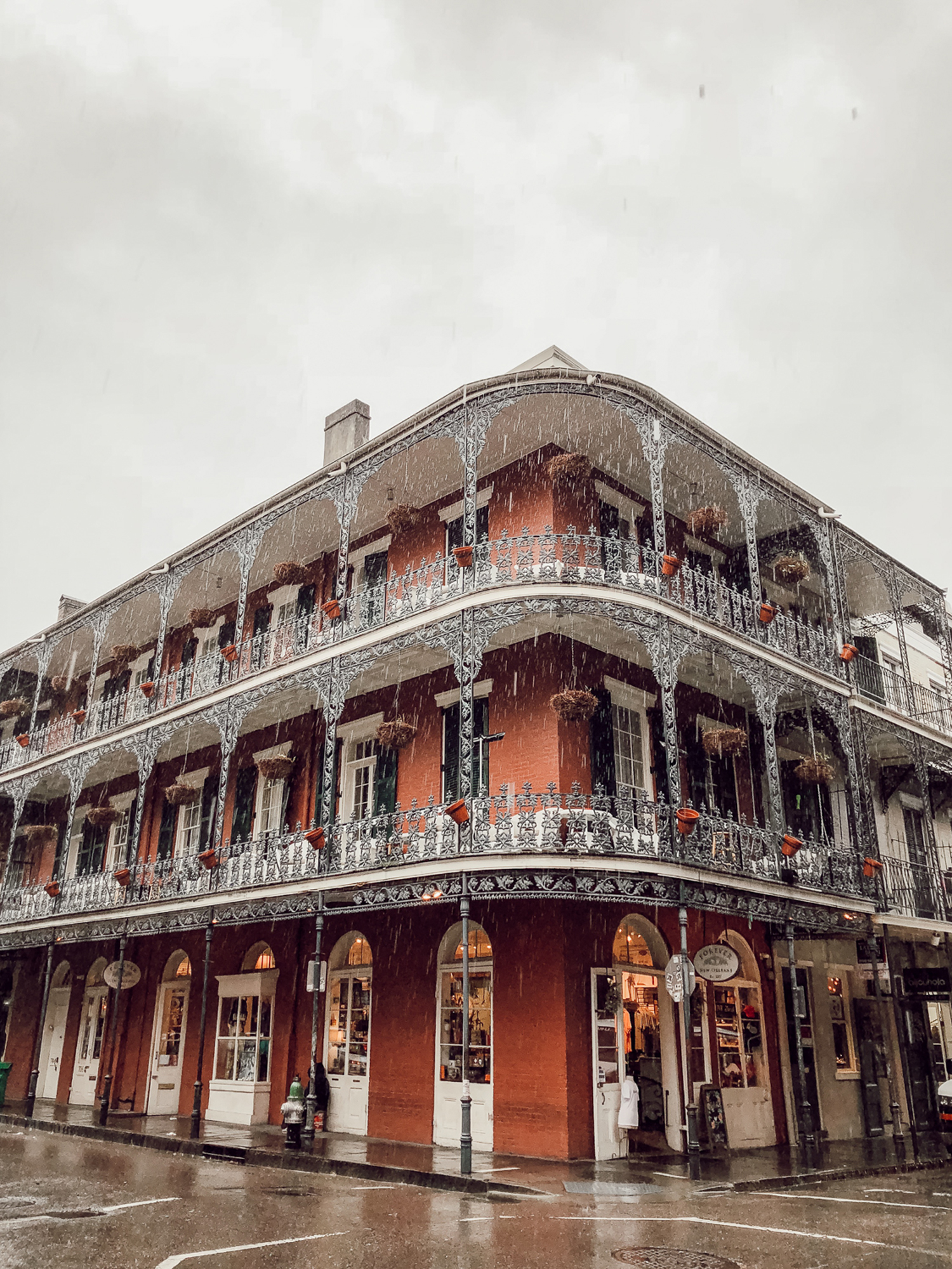 rainy view of New Orleans building