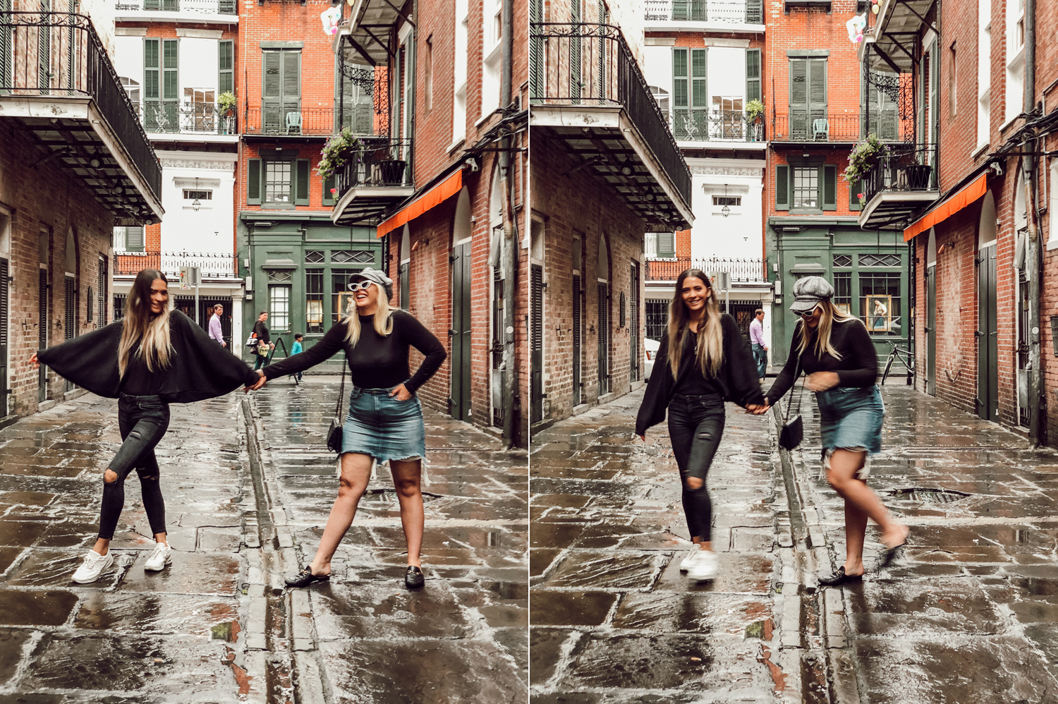 Madi and Tessa dancing in the rain in the French quarter