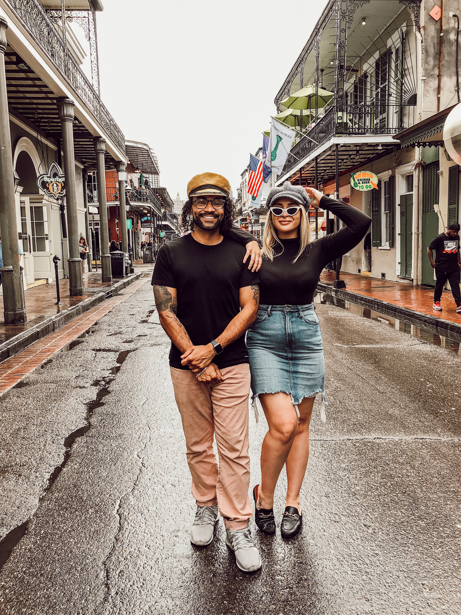 close up full body of Tess and Ector in French quarter