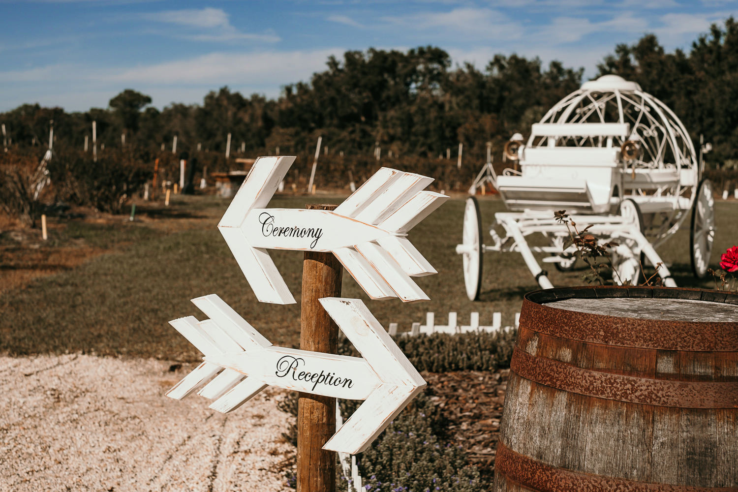 ever after farms arrow signs for ceremony and reception