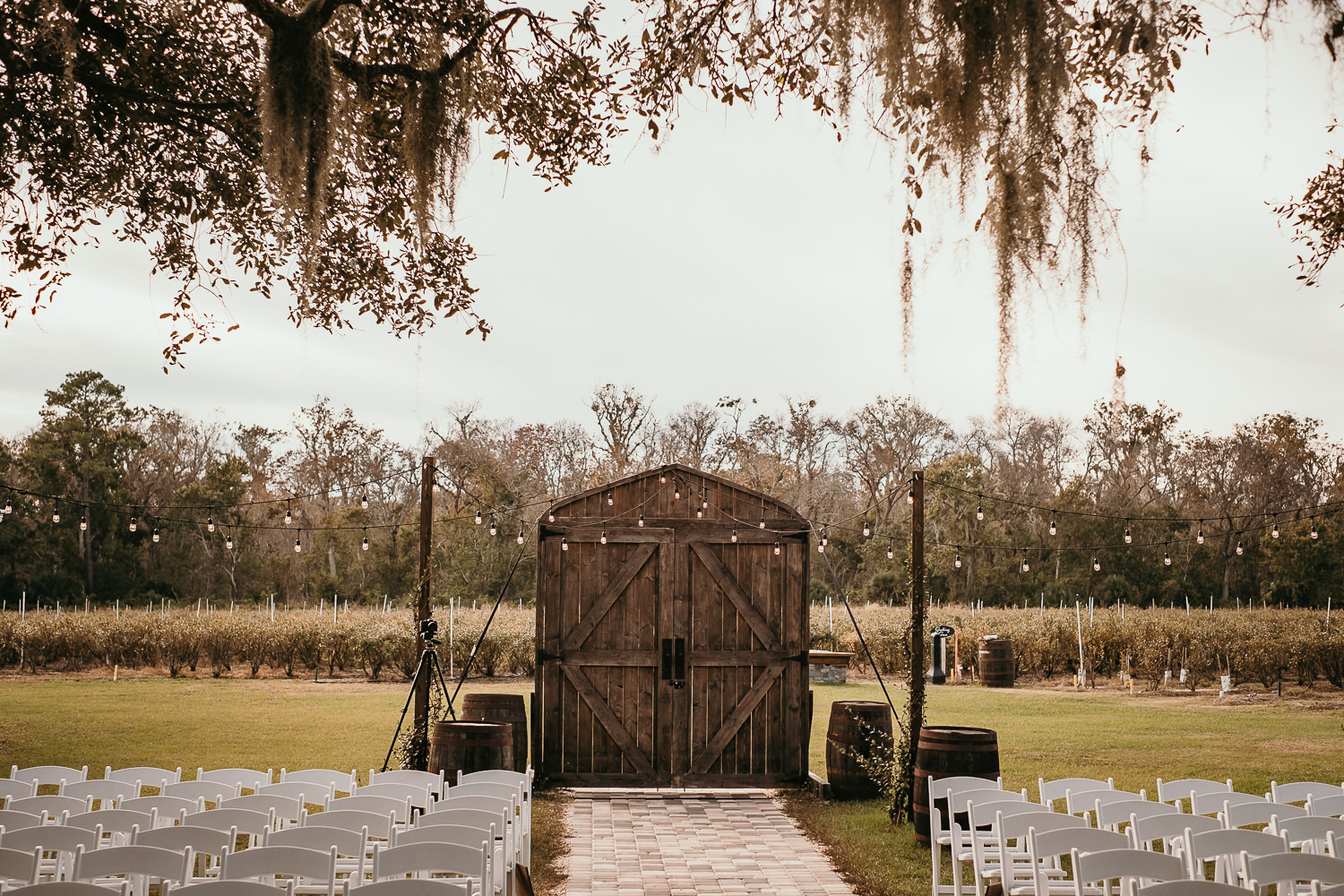 wooden entrance to ever after farms ceremony site