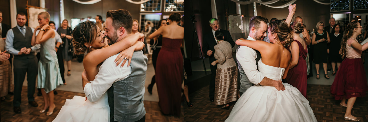 newlyweds hugging passionately on dance floor
