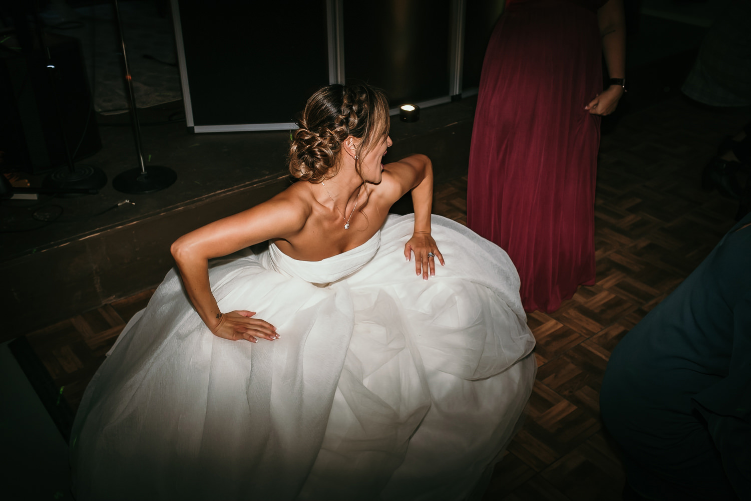 bride dancing dropping low
