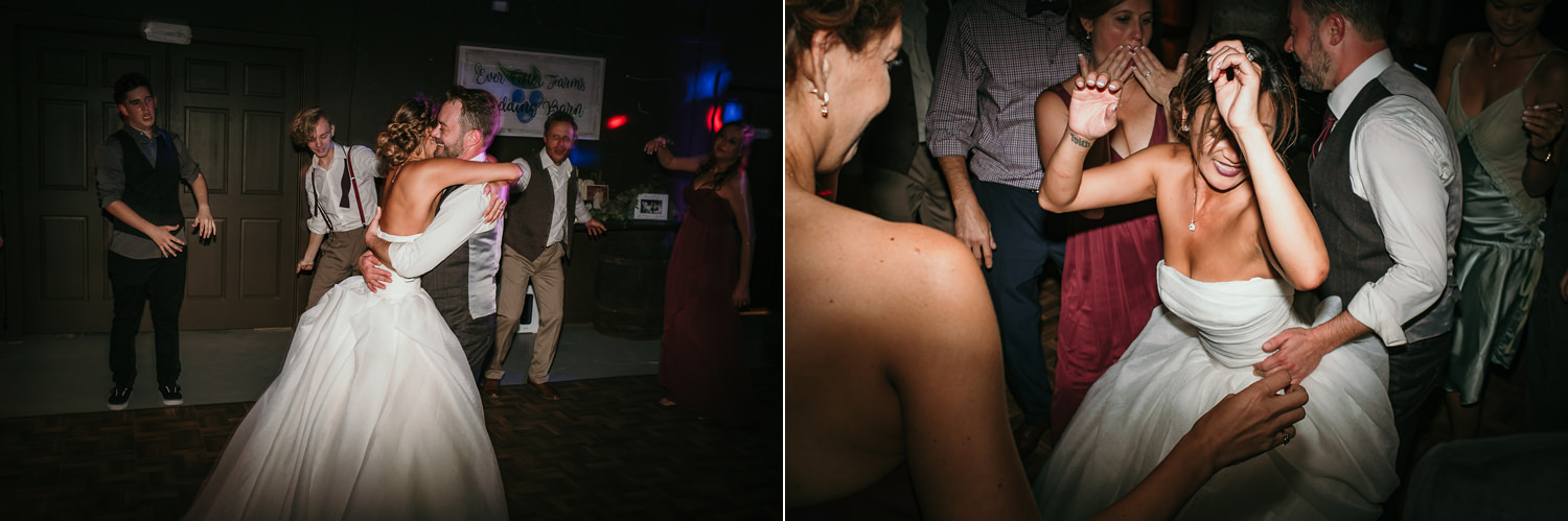 bride dancing sexy with groom on dance floor