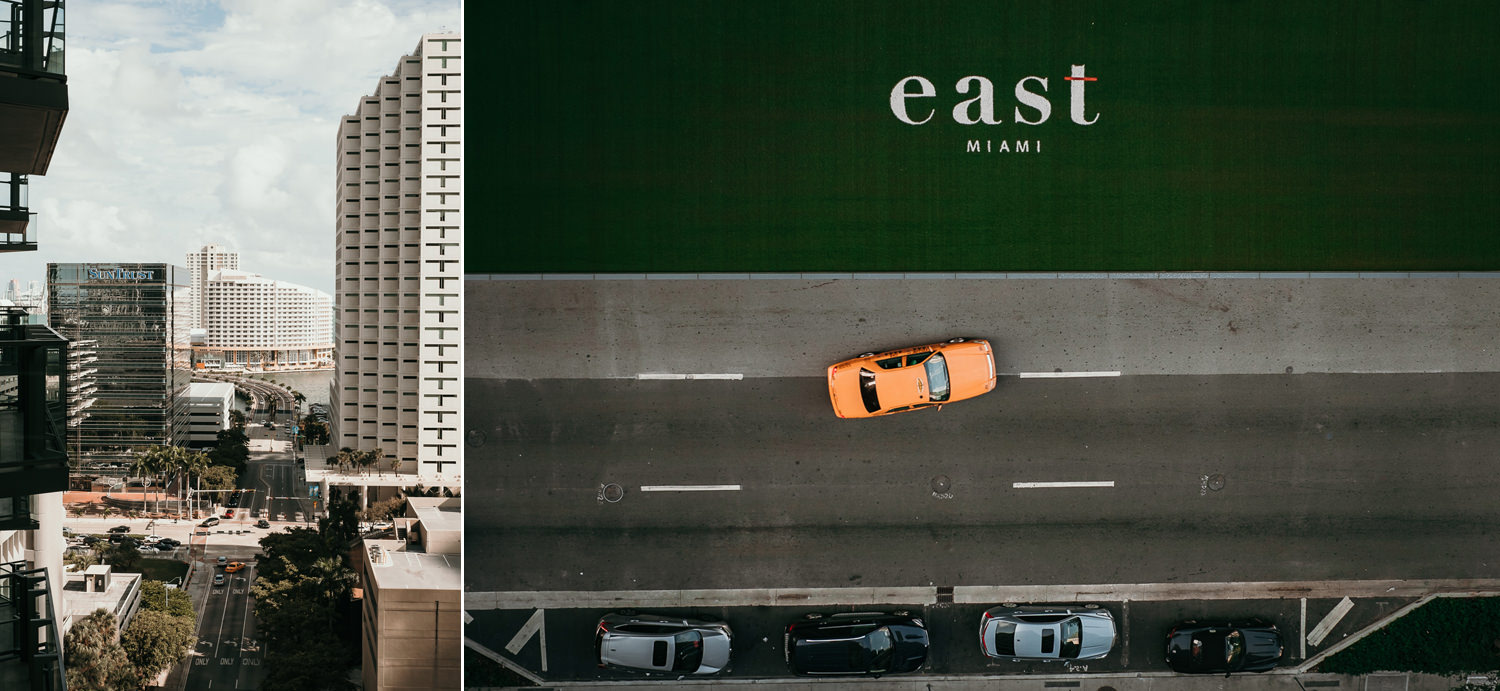 arial street view of yellow cab driving passing