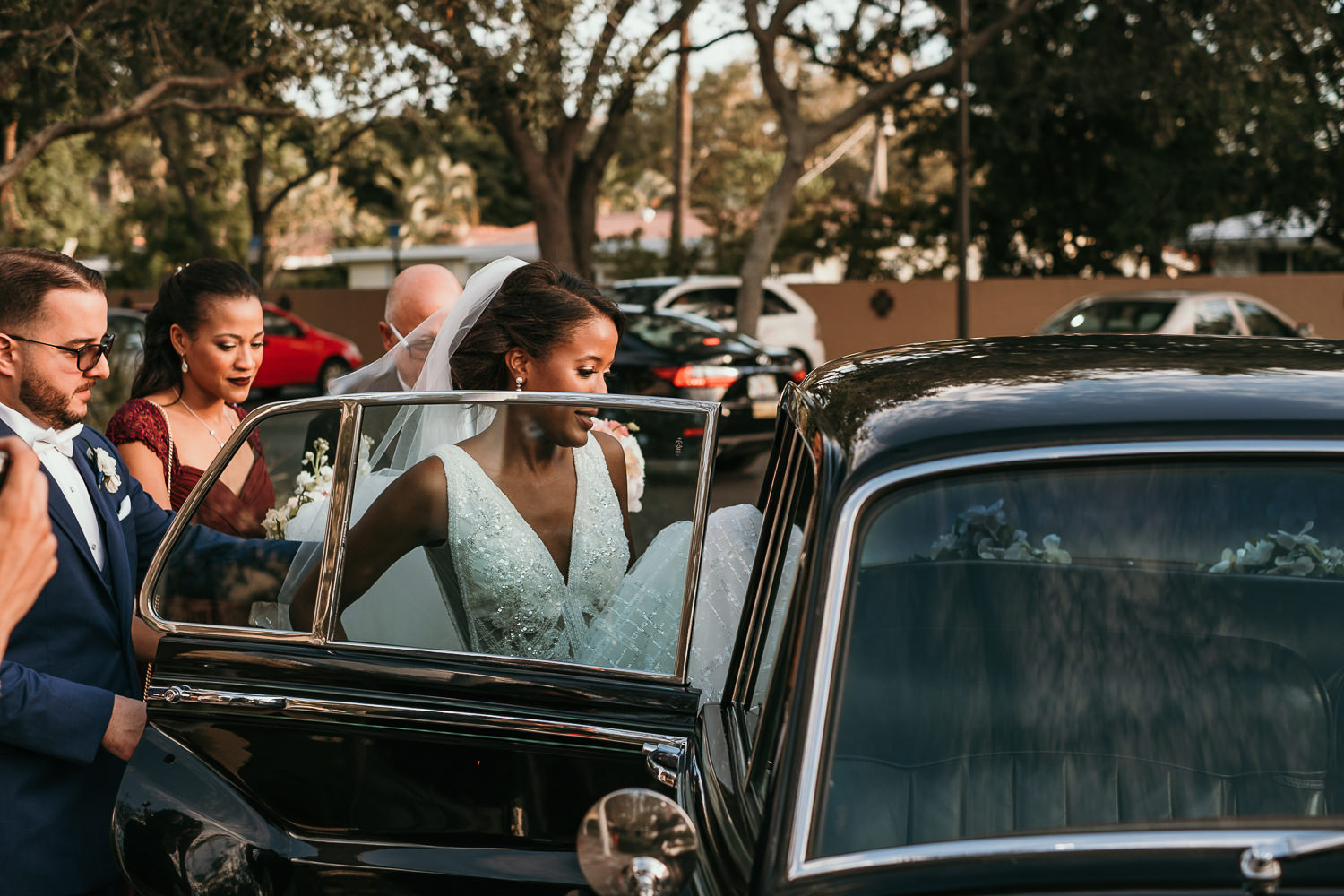 bride getting in rolls Royce