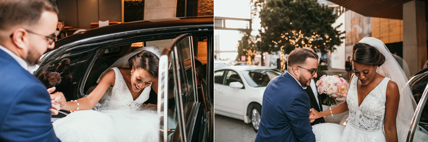 groom helping bride out the car