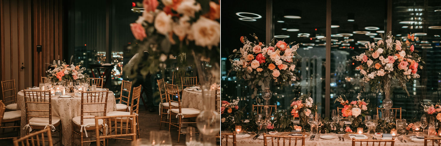 bridal party table focus on flowers