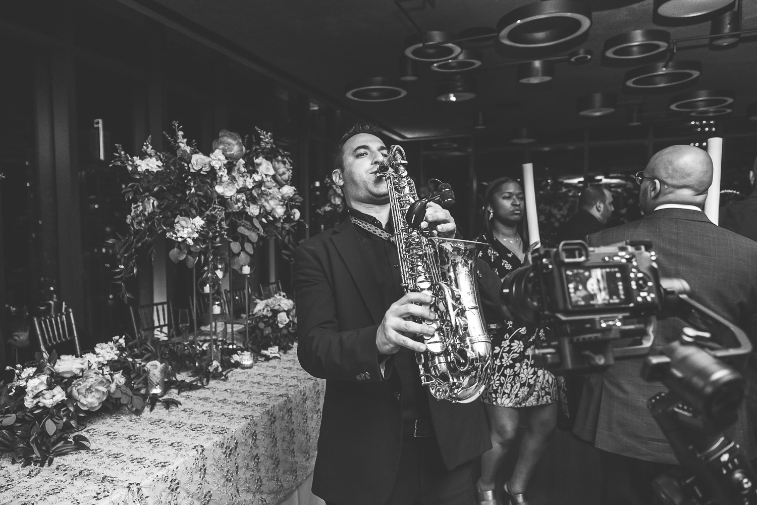 saxophone player at wedding reception