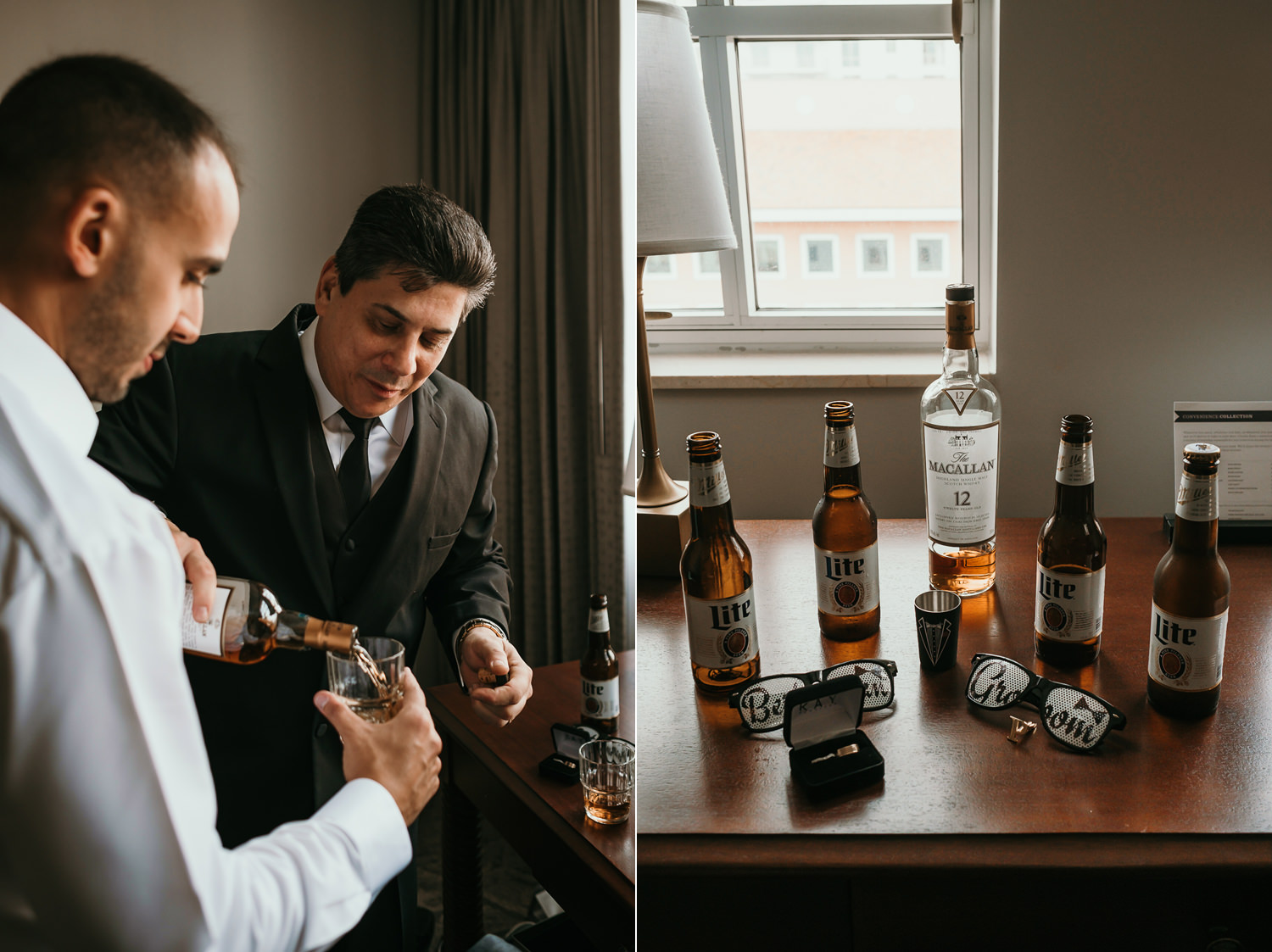 groom's uncle pouring him whiskey