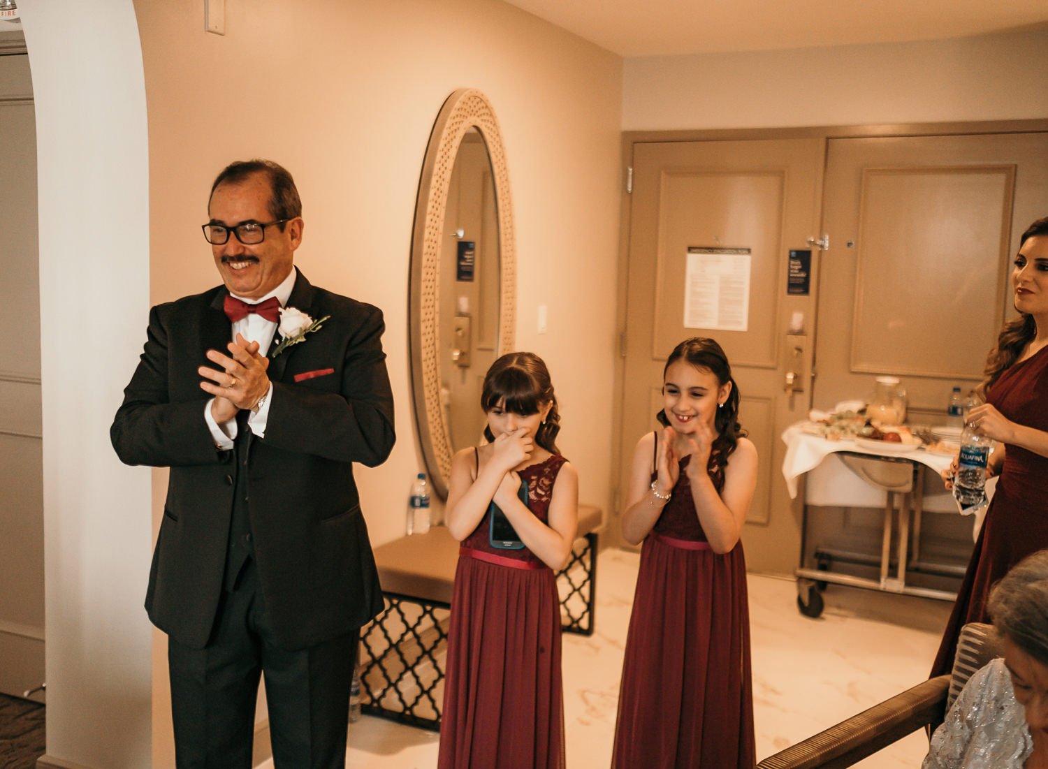 first look with father and flower girls