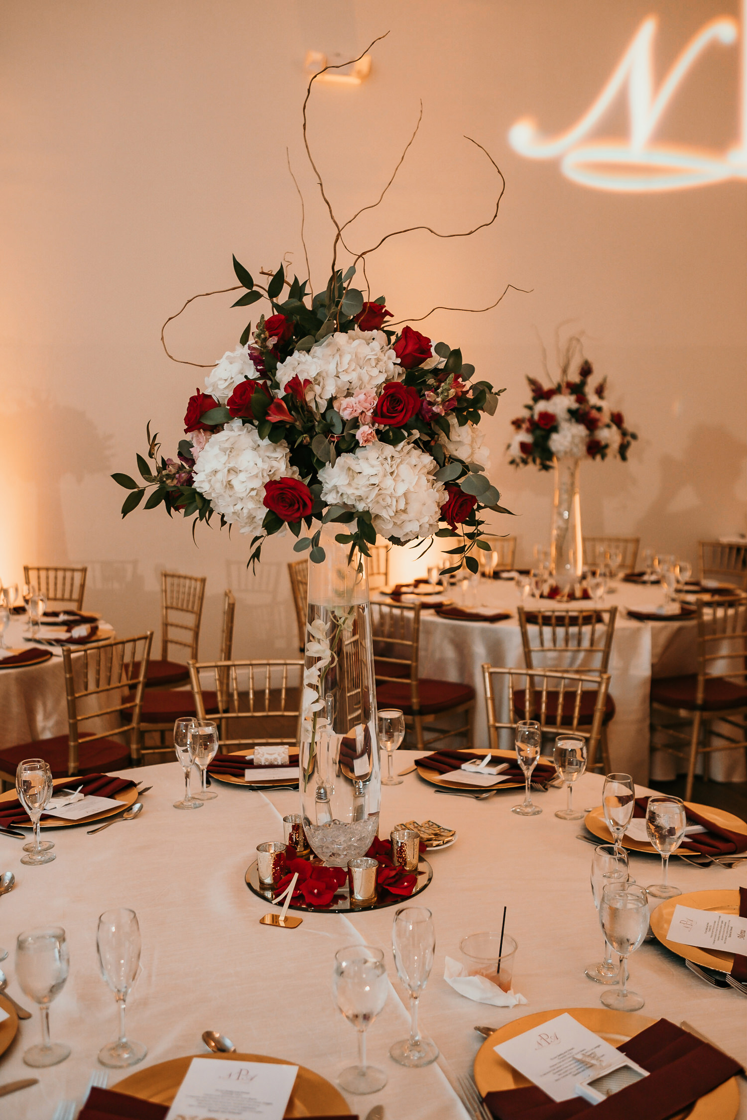 reception table details and flowers