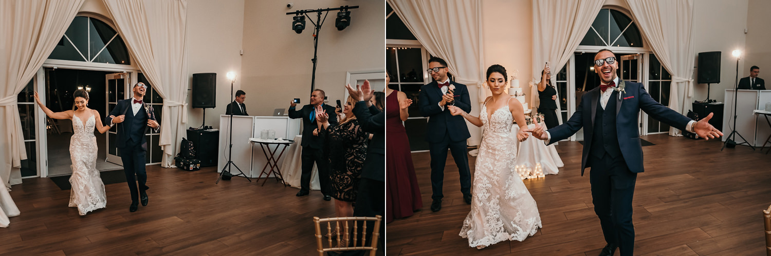 bride and groom dancing getting introduced to reception