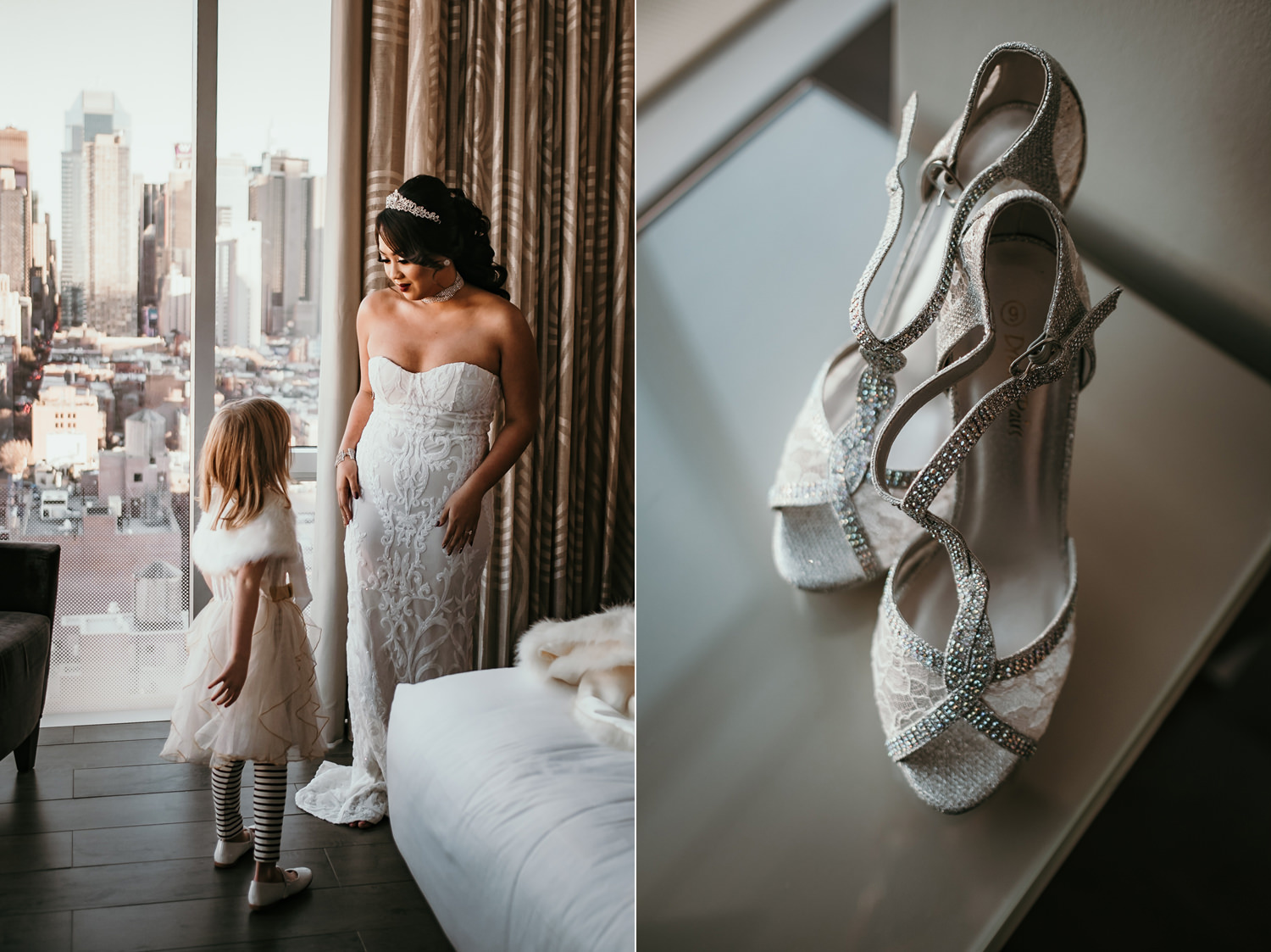 bride and groom's daughter smiling at each other and shoes