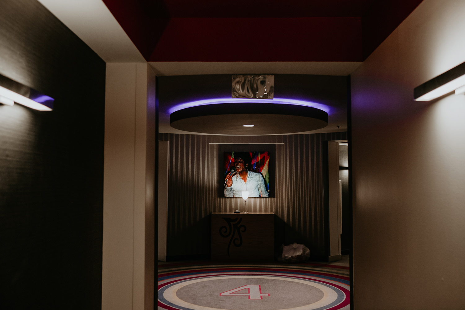 view of hard rock hotel hallway with Michael Jackson painting