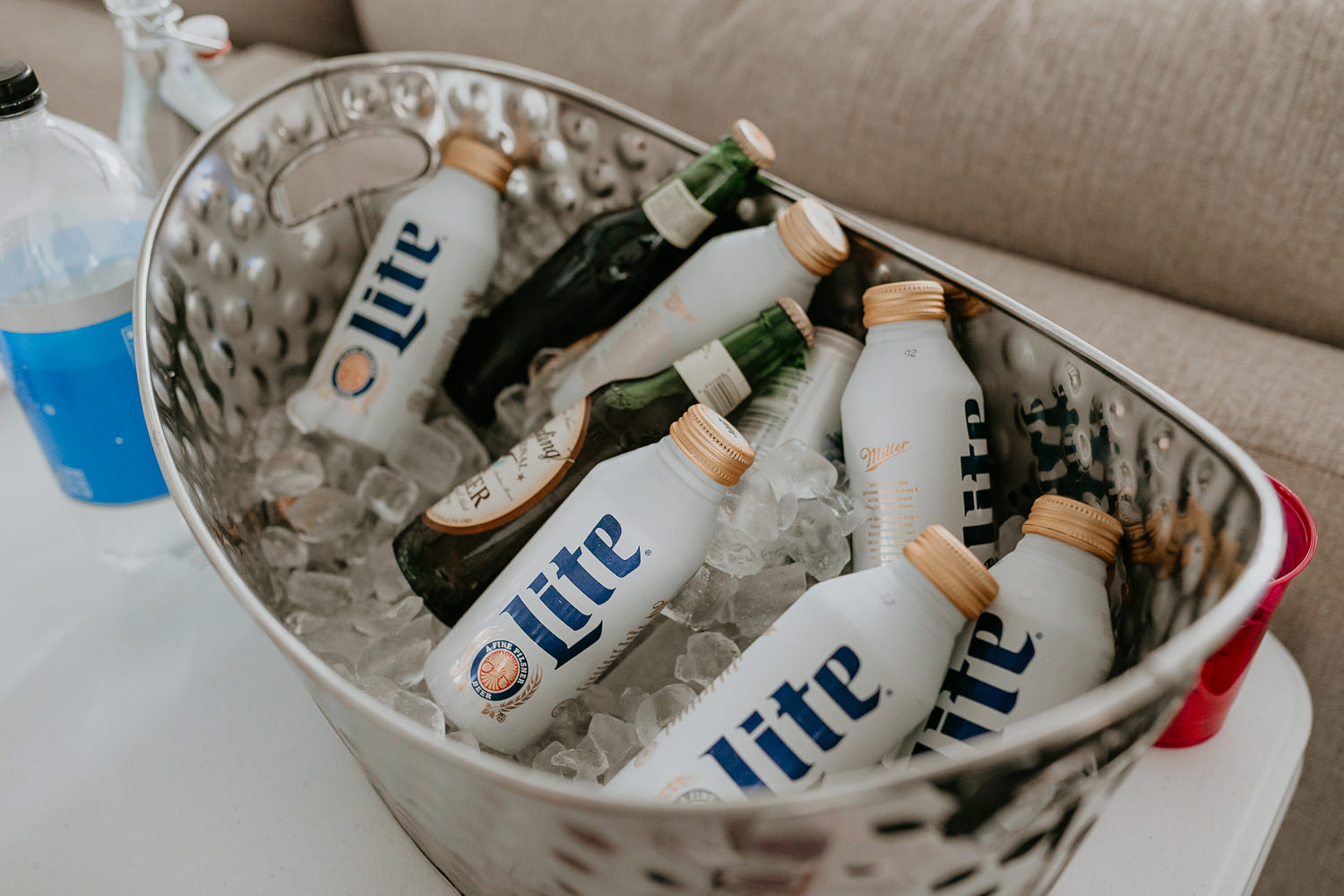 overhead picture of beef bottles miller lite
