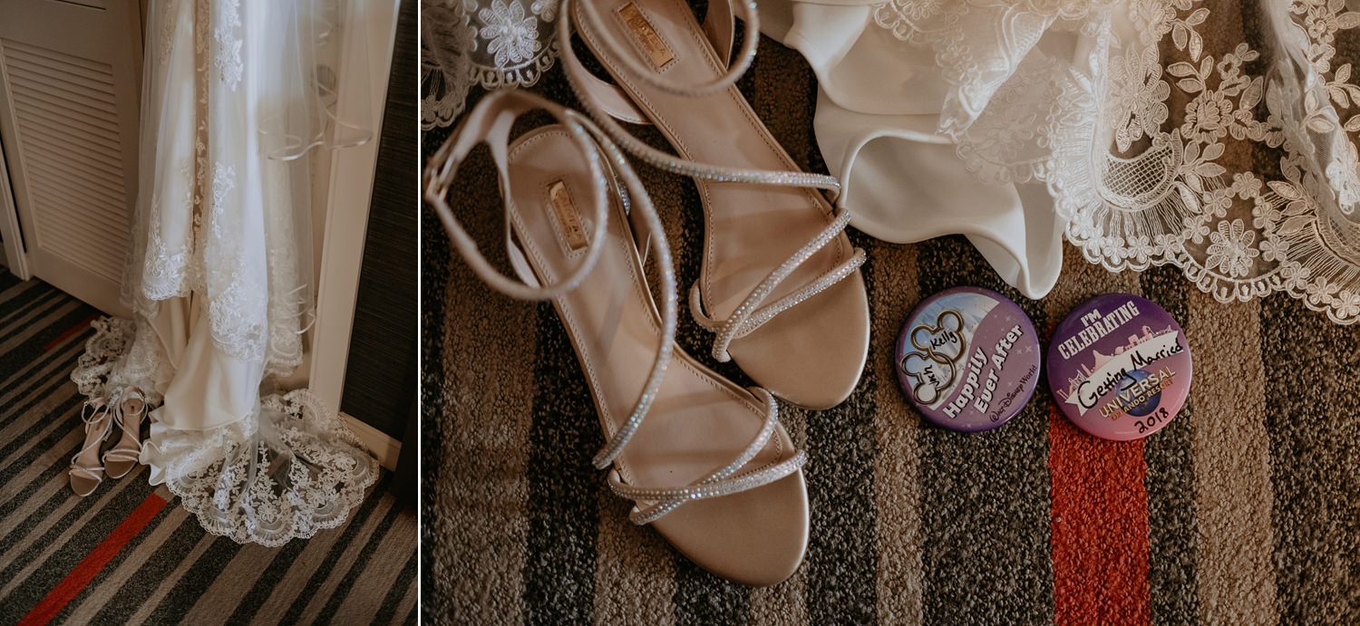 bottom of wedding dress with her shoes next to universal studios just married pins
