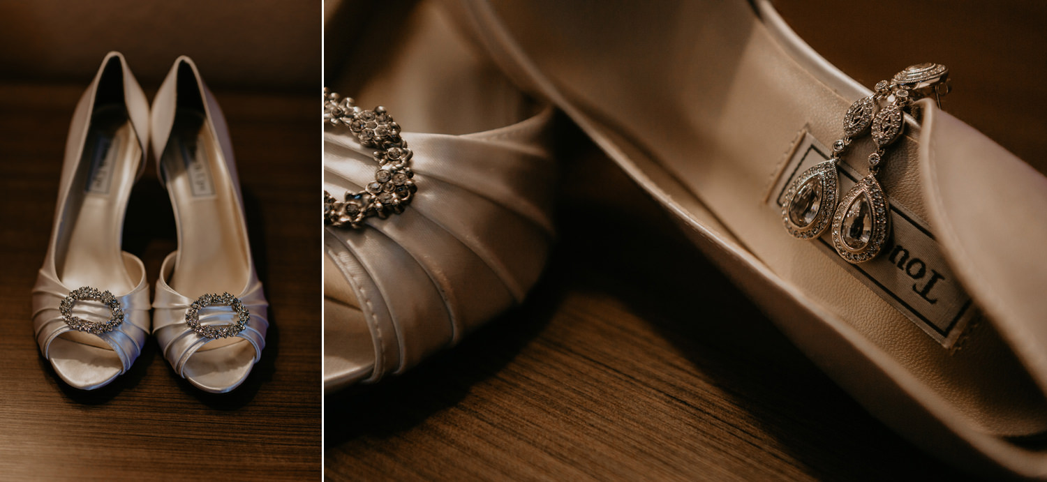 close up of bride's high heels with jewelry on top