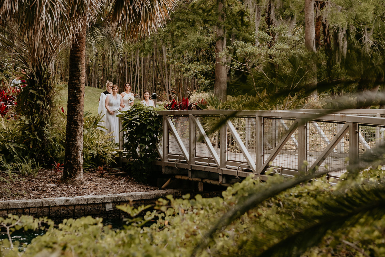 wide view of hard rock resort bridge bride and bridesmaids walking on it