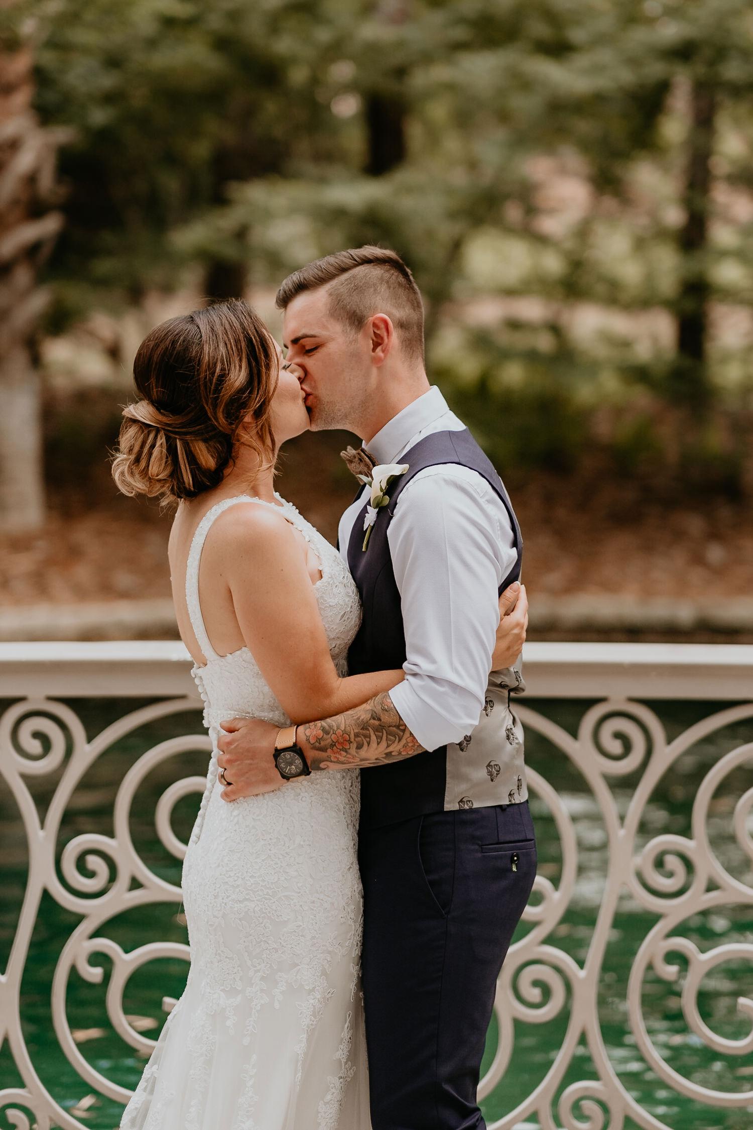 newlyweds first kiss at hard rock resort wedding